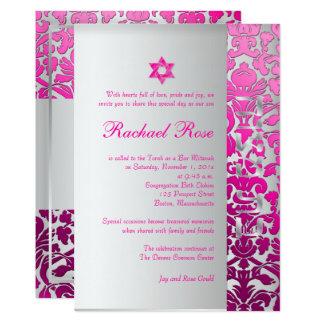 Carte Damassé/Mitzvah/rose/argent de flore de PixDezines