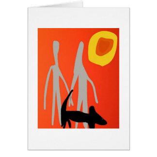 Carte d'amour de couples et de chien