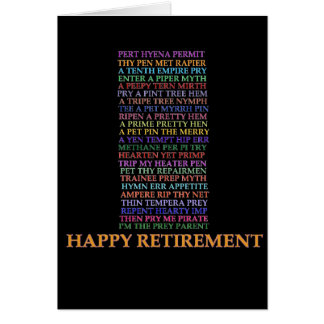 Carte d'anagramme de retraite