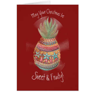 Carte d'ananas de Noël dans rouge foncé