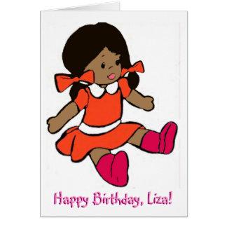 Carte d'anniversaire afro-américaine de poupée de