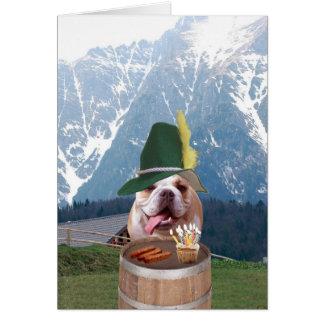 Carte d'anniversaire allemande de chien drôle de