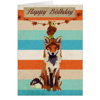 Carte d'anniversaire ambre de Fox et de hibou