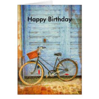 Carte d'anniversaire avec la bicyclette