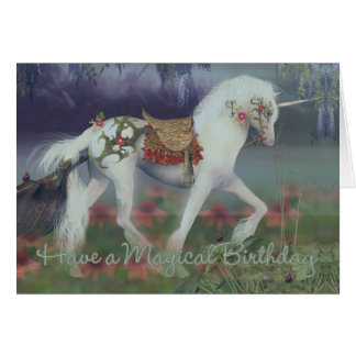 Carte d'anniversaire avec la licorne, carte d'anni