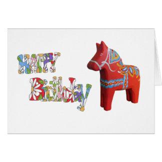 Carte d'anniversaire avec le cheval de Dala