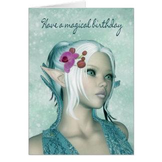 Carte d'anniversaire avec l'imaginaire Elf femelle