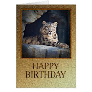 Carte d'anniversaire avec un léopard de neige