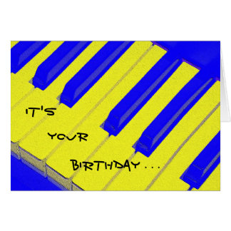 Carte d'anniversaire bariolée bleue de clavier