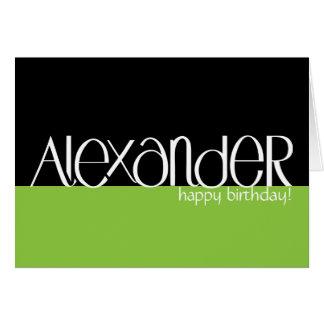 Carte d'anniversaire blanche d'Alexandre