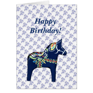 Carte d'anniversaire bleue de cheval de Dala