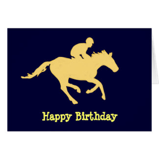 Carte d'anniversaire bleue et crème de cheval