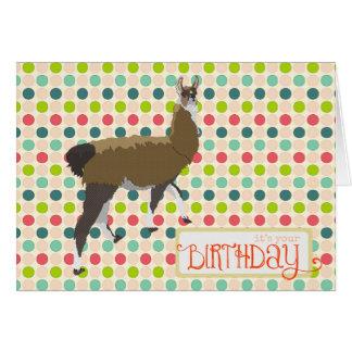 Carte d'anniversaire chanceuse de lama