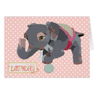 Carte d'anniversaire chanceuse de rose d'éléphant