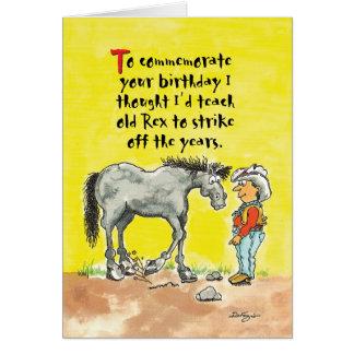 Carte d'anniversaire chevaline humoristique