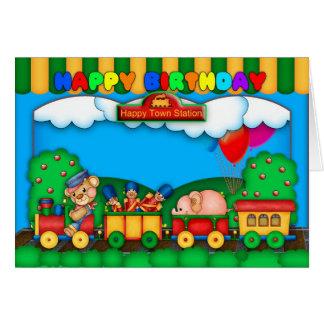 carte d'anniversaire colorée d'amusement avec le
