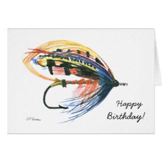 Carte d'anniversaire colorée de pêche de mouche