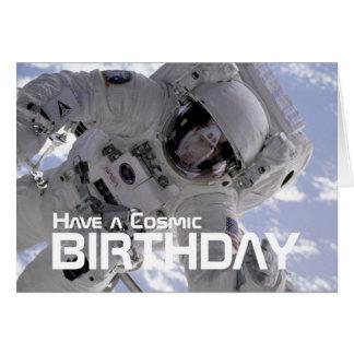 Carte d'anniversaire cosmique d'astronaute