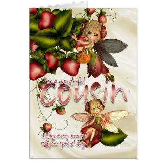 Carte d'anniversaire - cousin - fées de tarte de