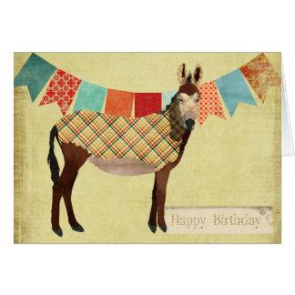 Carte d'anniversaire d'âne de plaid d'or