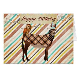 Carte d'anniversaire d'âne et de hibou
