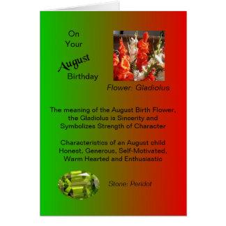 Carte d'anniversaire d'août - glaïeul et Peridot