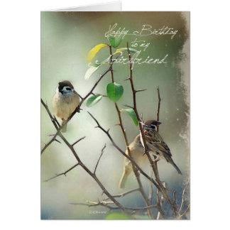 Carte d'anniversaire de 3 oiseaux pour l'amie