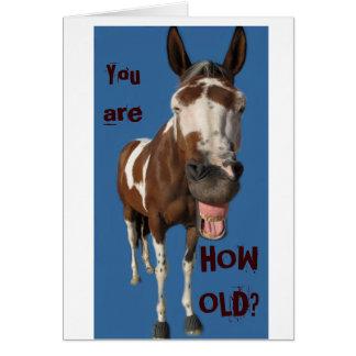 Carte d'anniversaire de baîllement drôle de cheval