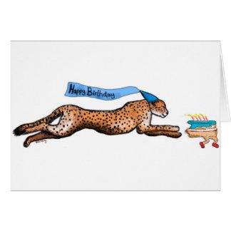 Carte d'anniversaire de bande dessinée de guépard