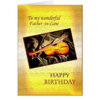 Carte d'anniversaire de beau-père avec un violon