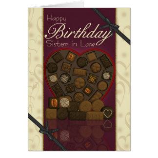 Carte d'anniversaire de belle-soeur - chocolats