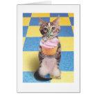 carte d'anniversaire de chat de petit gâteau