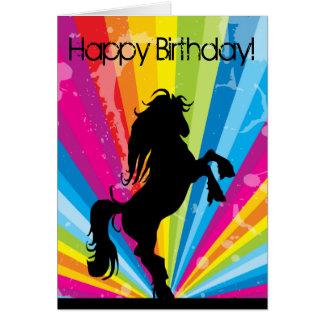 Carte d'anniversaire de cheval de silhouette de