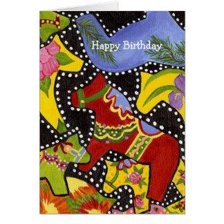 Carte d'anniversaire de chevaux de Dala de danse