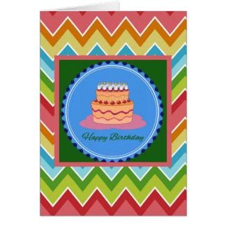 Carte d'anniversaire de Chevron avec le gâteau