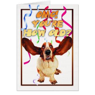 carte d'anniversaire de chien de basset - vous