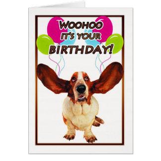 carte d'anniversaire de chien de basset - woohoo
