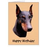 Carte d'anniversaire de chien de visage de Pinsche