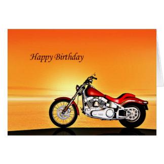 Carte d'anniversaire de coucher du soleil de moto