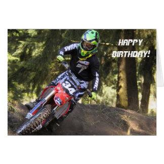Carte d'anniversaire de coureur de motocross