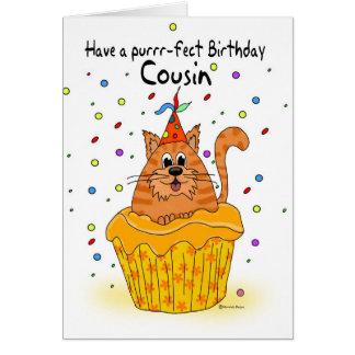 carte d'anniversaire de cousin avec le chat de