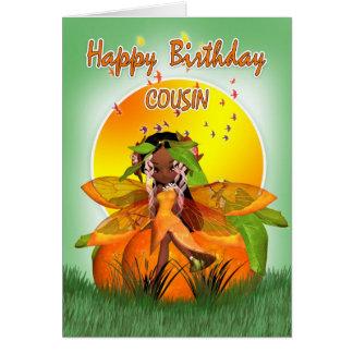Carte d'anniversaire de cousin - fée d'agrume de
