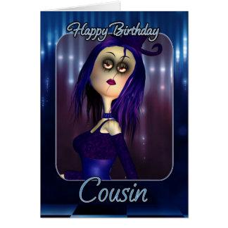 Carte d'anniversaire de cousin - poupée de chiffon