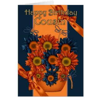 Carte d'anniversaire de cousin - tournesol et