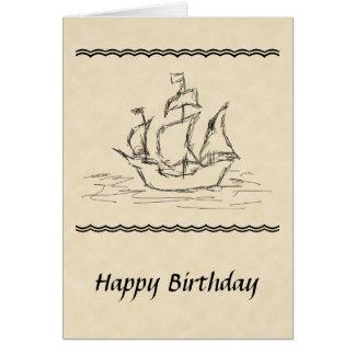 Carte d'anniversaire de croquis de bateau de pirat