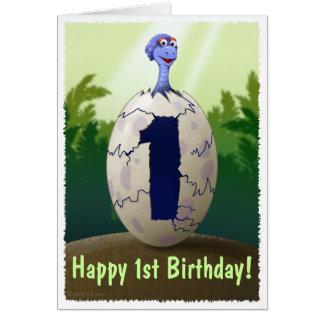 Carte d'anniversaire de dinosaure de bébé