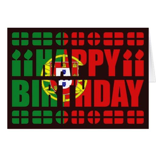 Carte d'anniversaire de drapeau du Portugal