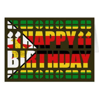 Carte d'anniversaire de drapeau du Zimbabwe