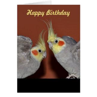 Carte d'anniversaire de duo de Cockatiel