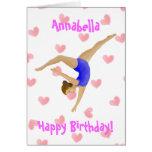 Carte d'anniversaire de fille de gymnaste